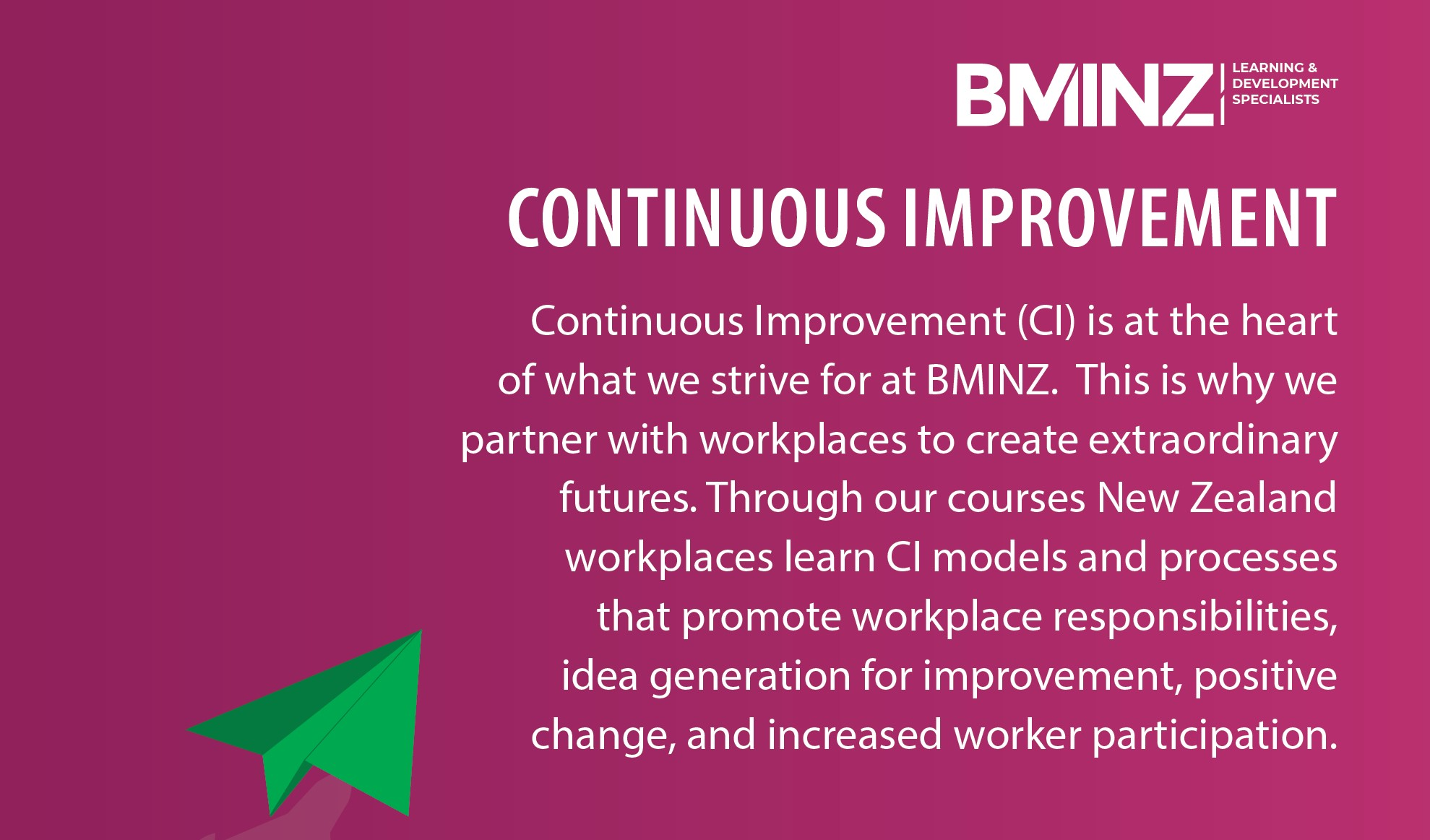 CONTINUOUS IMPROVEMENT (CI): is at the heart of what we strive for at BMINZ. This is why we partner with workplaces to create extraordinary futures. Through our courses New Zealand workplaces learn CI models and processes that promote workplace responsibilities, idea generation for improvement, positive change, and increased worker participation.
