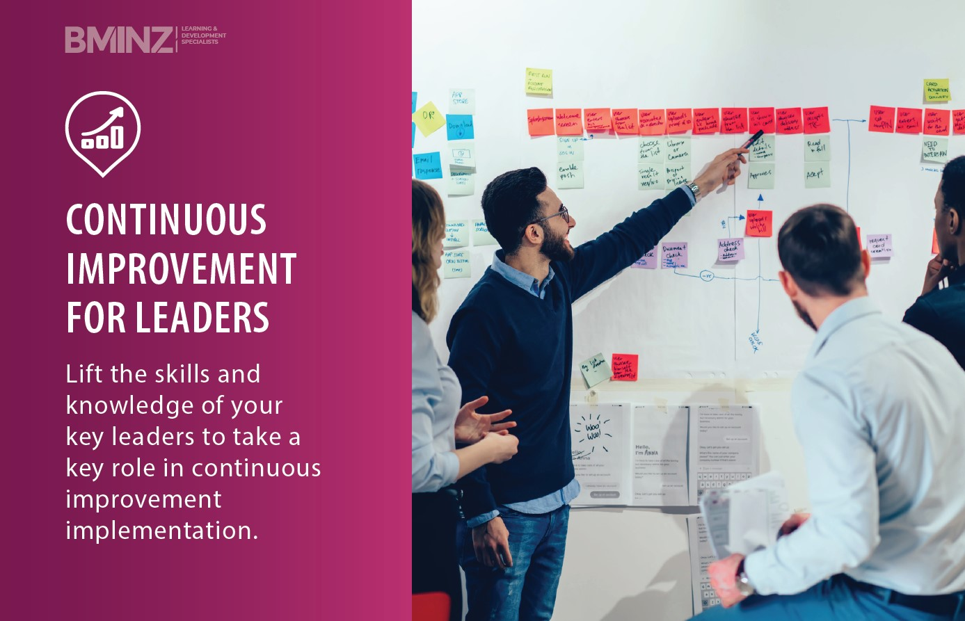 CONTINUOUS IMPROVEMENT FOR LEADERS: Lift the skills and knowledge of your key leaders to take a key role in continuous improvement implementation.
