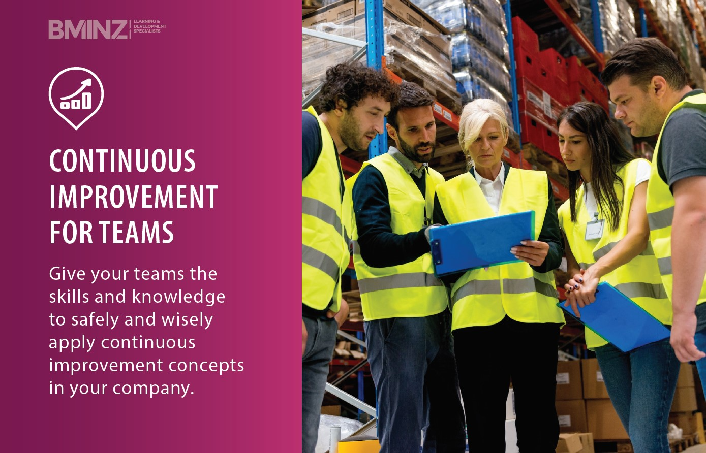 CONTINUOUS IMPROVEMENT FOR TEAMS: Give your teams the skills and knowledge to safely and wisely apply continuous improvement concepts in your company.
